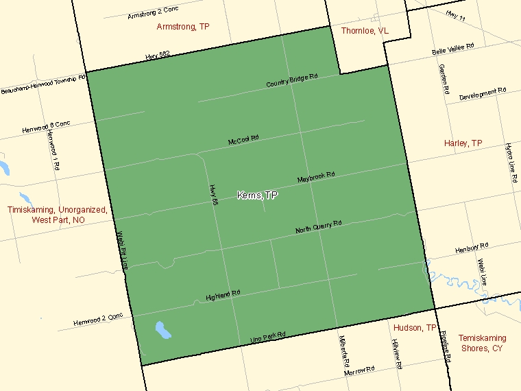 Map: Kerns, Township, Census Subdivision (shaded in green), Ontario