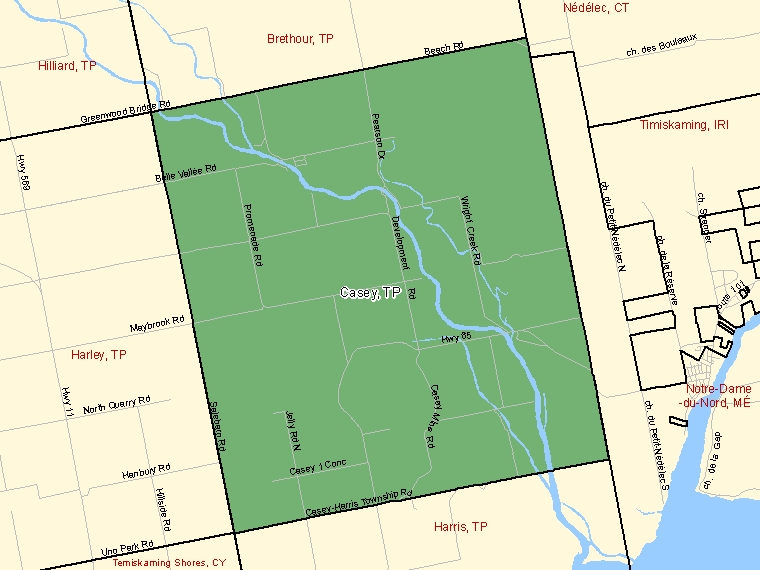 Map: Casey, Township, Census Subdivision (shaded in green), Ontario
