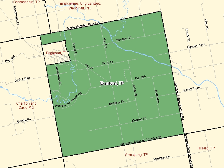Map: Evanturel, Township, Census Subdivision (shaded in green), Ontario