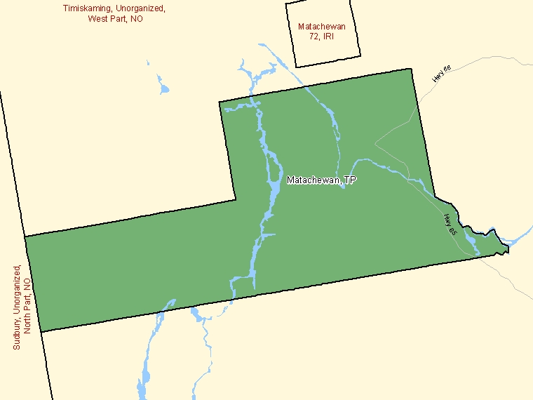 Map: Matachewan, Township, Census Subdivision (shaded in green), Ontario