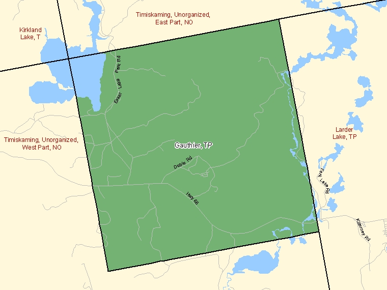 Map: Gauthier, Township, Census Subdivision (shaded in green), Ontario