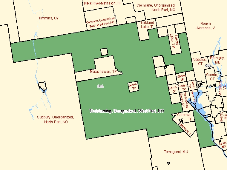 Map: Timiskaming, Unorganized, West Part, Unorganized, Census Subdivision (shaded in green), Ontario