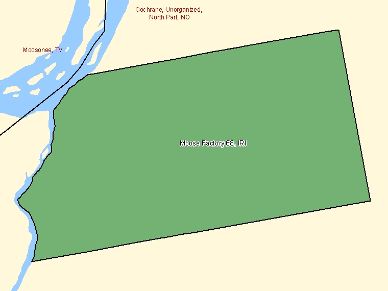 Map: Moose Factory 68, Indian reserve, Census Subdivision (shaded in green), Ontario