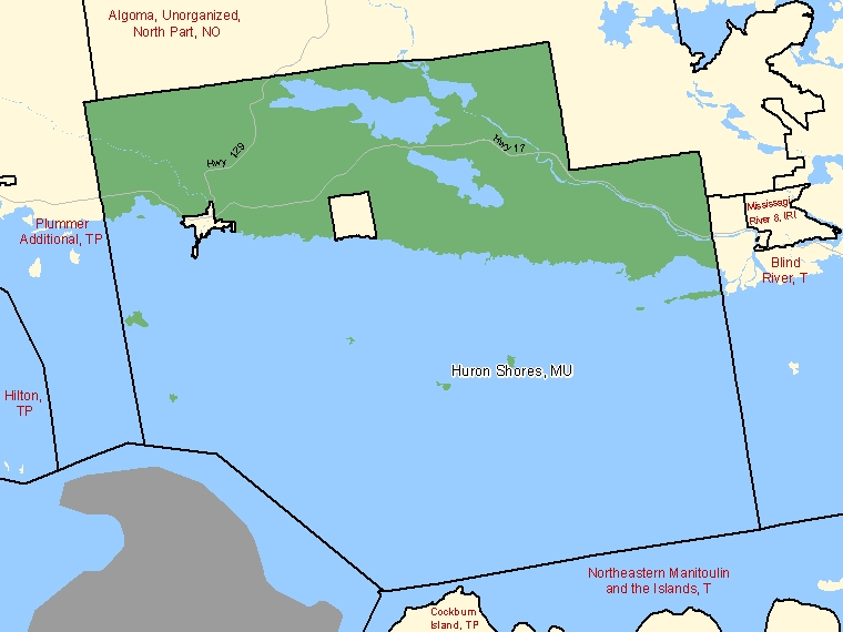 Map: Huron Shores, Municipality, Census Subdivision (shaded in green), Ontario