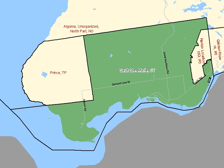 Map: Sault Ste. Marie, City, Census Subdivision (shaded in green), Ontario