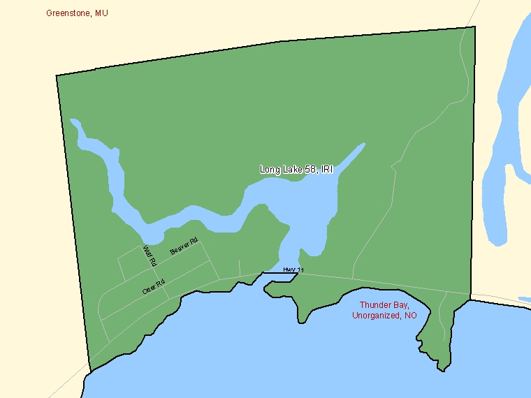 Map: Long Lake 58, Indian reserve, Census Subdivision (shaded in green), Ontario