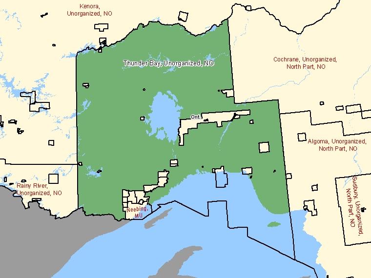 Map – Thunder Bay, Unorganized (NO)
