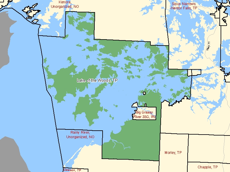 Map: Lake of the Woods, Township, Census Subdivision (shaded in green), Ontario