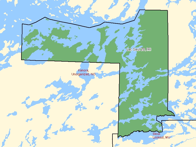 Map: Lac Seul 28, Indian reserve, Census Subdivision (shaded in green), Ontario