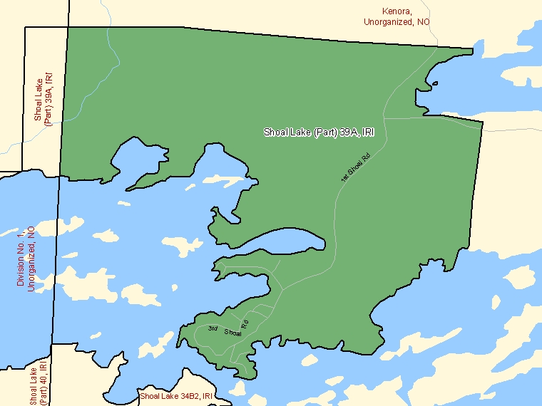 Map: Shoal Lake (Part) 39A, Indian reserve, Census Subdivision (shaded in green), Ontario