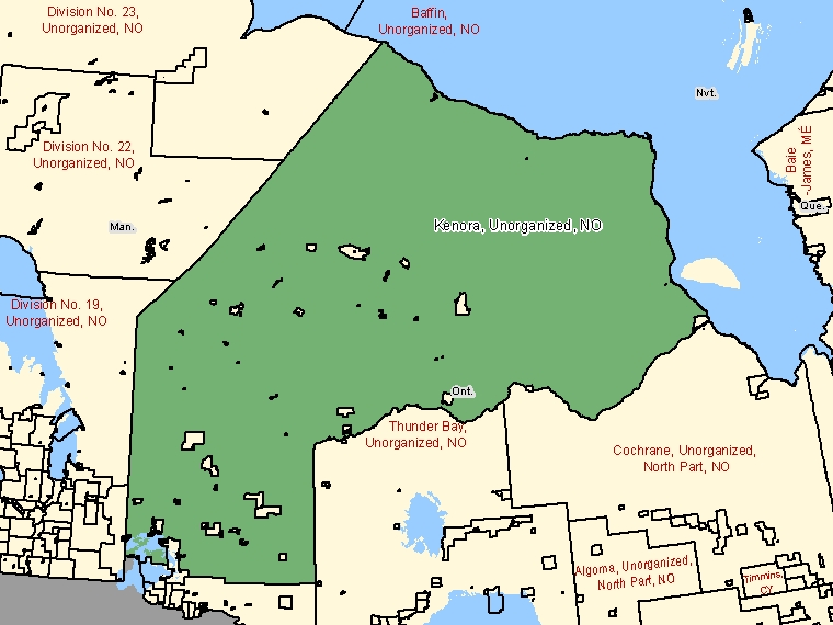 Map: Kenora, Unorganized, Unorganized, Census Subdivision (shaded in green), Ontario