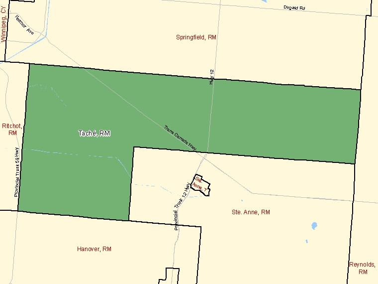 Map: Taché, Rural municipality, Census Subdivision (shaded in green), Manitoba