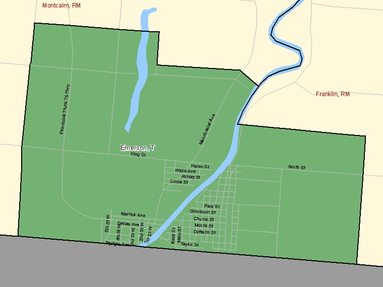 Map: Emerson, Town, Census Subdivision (shaded in green), Manitoba