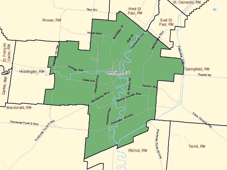 Map: Winnipeg, City, Census Subdivision (shaded in green), Manitoba