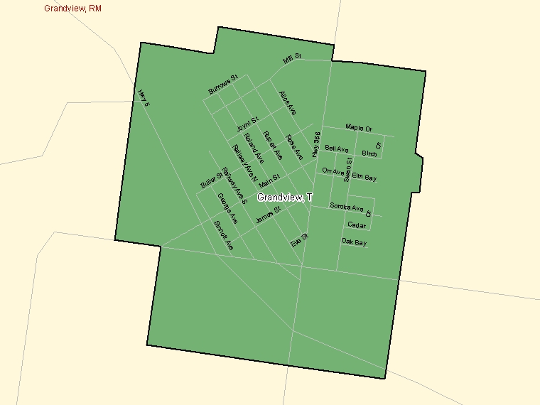 Map: Grandview, Town, Census Subdivision (shaded in green), Manitoba