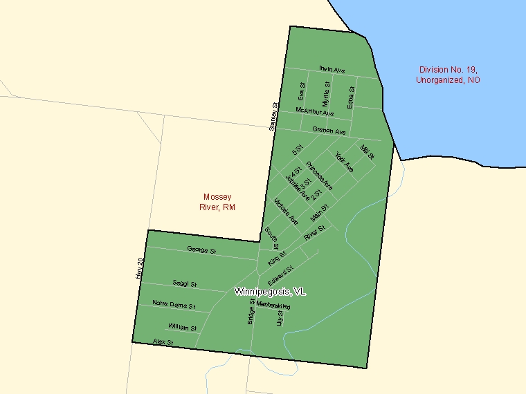 Map: Winnipegosis, Village, Census Subdivision (shaded in green), Manitoba