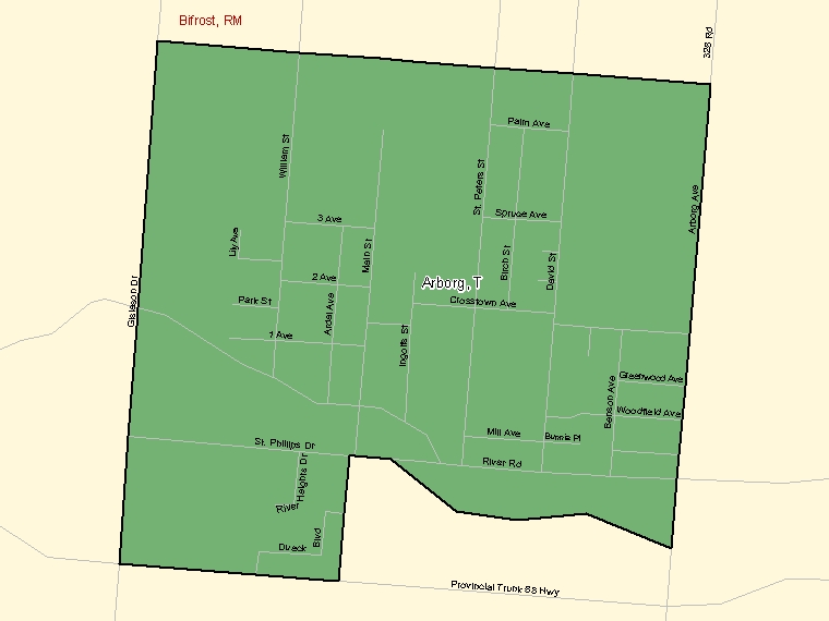 Map: Arborg, Town, Census Subdivision (shaded in green), Manitoba