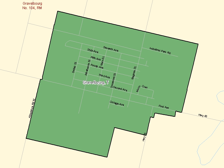 Map: Gravelbourg, Town, Census Subdivision (shaded in green), Saskatchewan