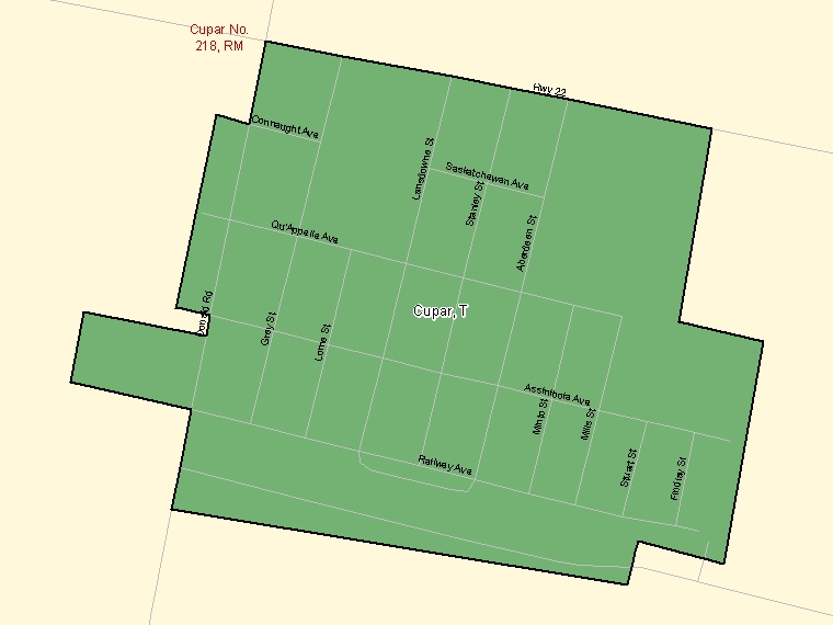 Map: Cupar, Town, Census Subdivision (shaded in green), Saskatchewan