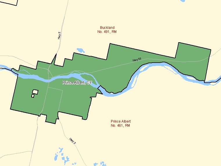 Map: Prince Albert, City, Census Subdivision (shaded in green), Saskatchewan