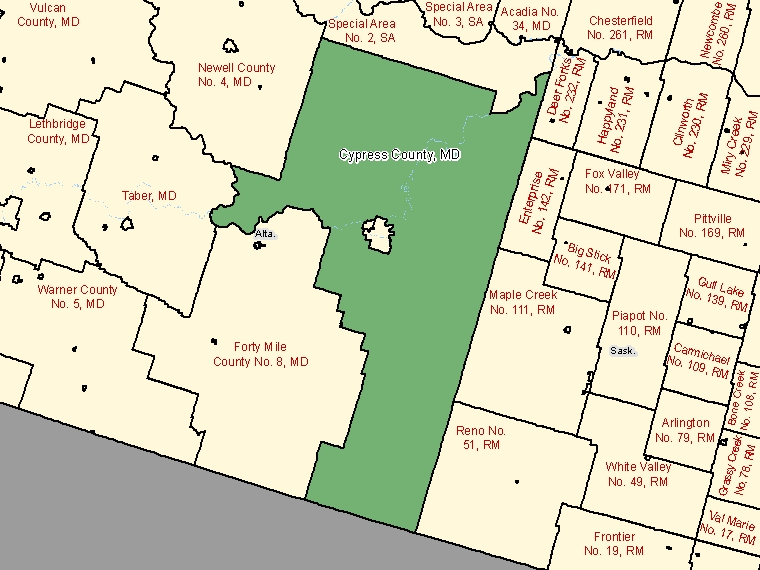 Map: Cypress County, Municipal district, Census Subdivision (shaded in green), Alberta