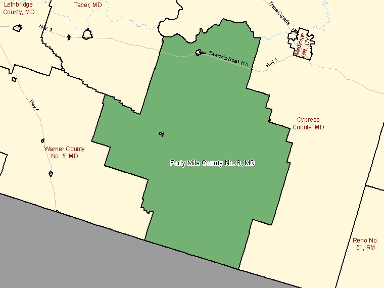 Map: Forty Mile County No. 8, Municipal district, Census Subdivision (shaded in green), Alberta