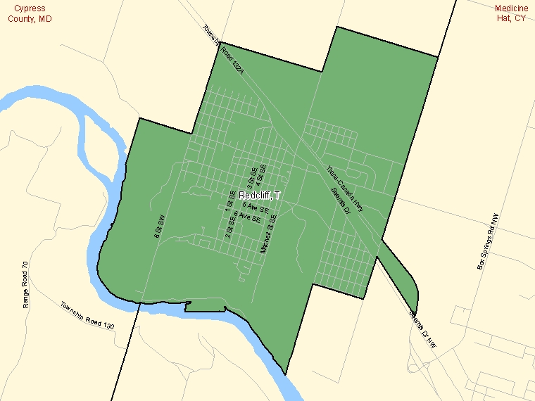 Map: Redcliff, Town, Census Subdivision (shaded in green), Alberta