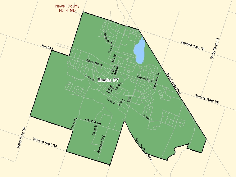 Map of Brooks (shaded in green), Alberta