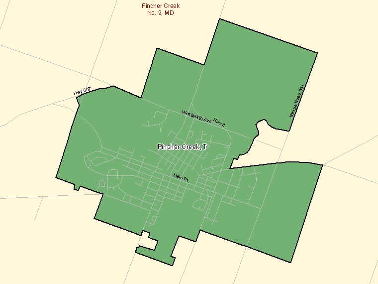 Map: Pincher Creek, Town, Census Subdivision (shaded in green), Alberta