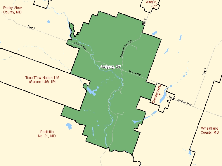 Map: Calgary, City, Census Subdivision (shaded in green), Alberta