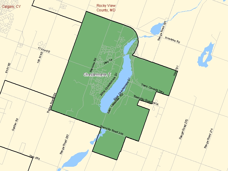 Map: Chestermere, Town, Census Subdivision (shaded in green), Alberta