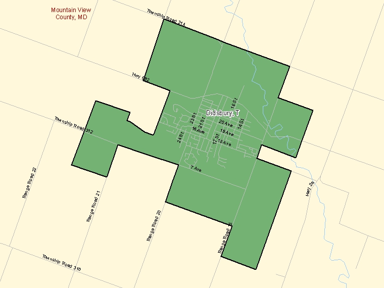 Map: Didsbury, Town, Census Subdivision (shaded in green), Alberta