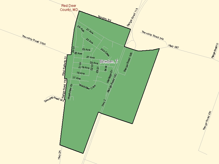 Map: Bowden, Town, Census Subdivision (shaded in green), Alberta