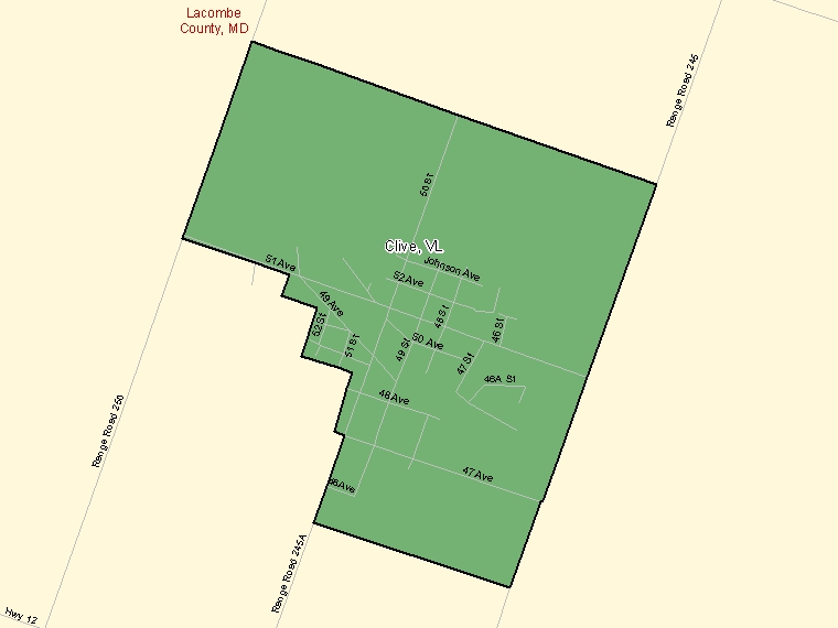 Map: Clive, Village, Census Subdivision (shaded in green), Alberta