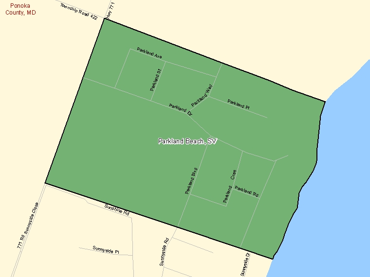 Map: Parkland Beach, Summer village, Census Subdivision (shaded in green), Alberta