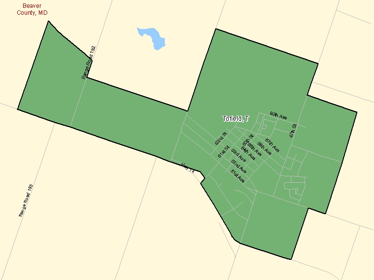 Map: Tofield, Town, Census Subdivision (shaded in green), Alberta