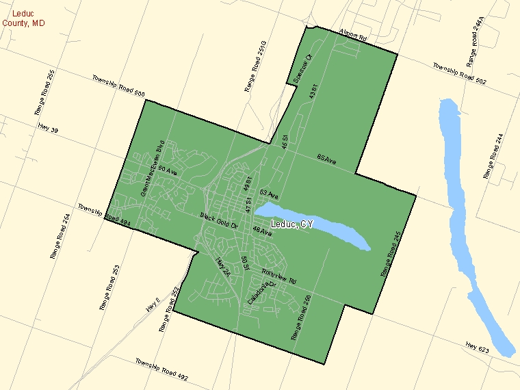 Map: Leduc, City, Census Subdivision (shaded in green), Alberta
