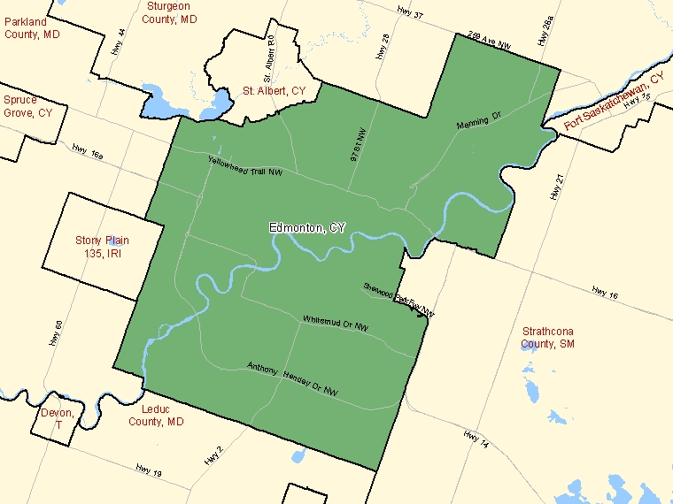 Map: Edmonton, City, Census Subdivision (shaded in green), Alberta