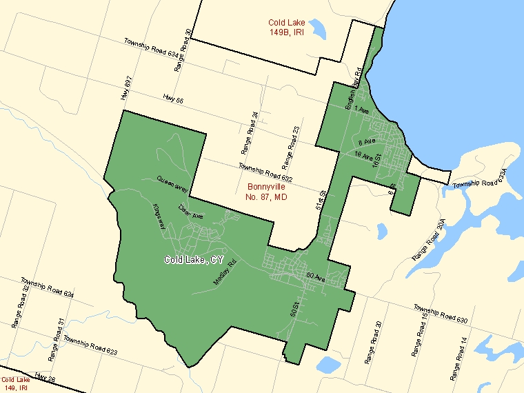 Map: Cold Lake, City, Census Subdivision (shaded in green), Alberta