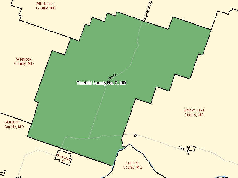 Map: Thorhild County No. 7, Municipal district, Census Subdivision (shaded in green), Alberta