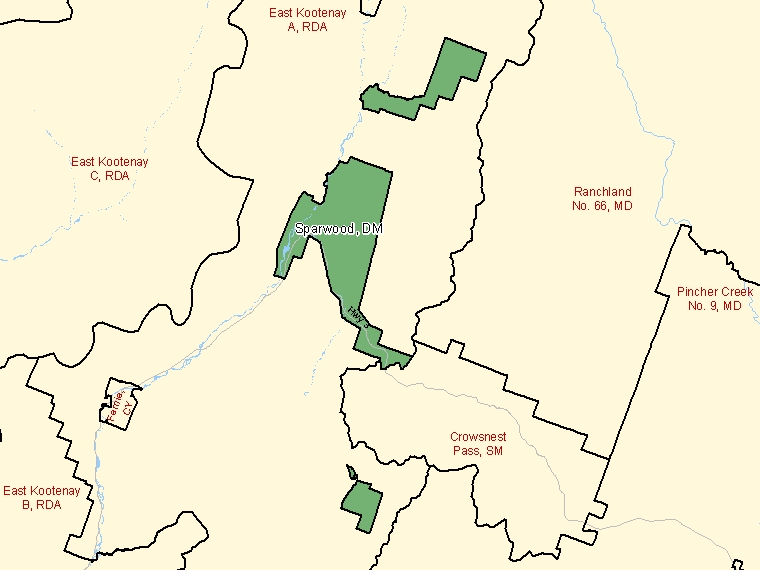 Map: Sparwood, District municipality, Census Subdivision (shaded in green), British Columbia