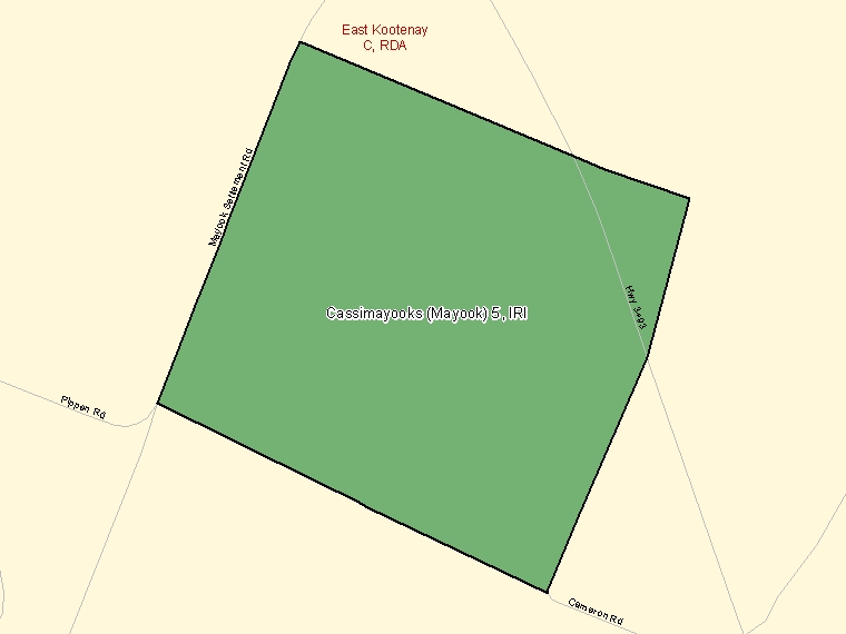 Map: Cassimayooks (Mayook) 5, Indian reserve, Census Subdivision (shaded in green), British Columbia