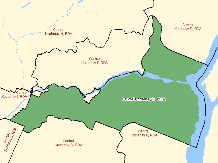 Map: Central Kootenay E, Regional district electoral area, Census Subdivision (shaded in green), British Columbia