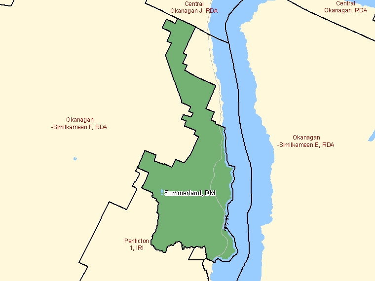 Map: Summerland, District municipality, Census Subdivision (shaded in green), British Columbia