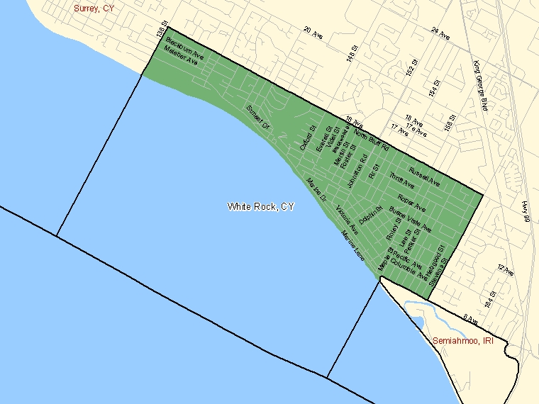 Map: White Rock, City, Census Subdivision (shaded in green), British Columbia
