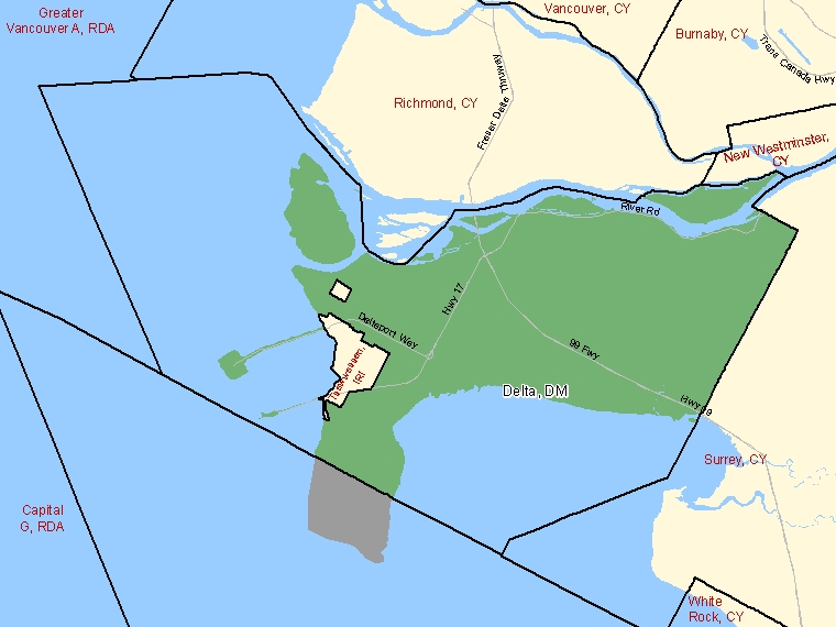 Map: Delta, District municipality, Census Subdivision (shaded in green), British Columbia