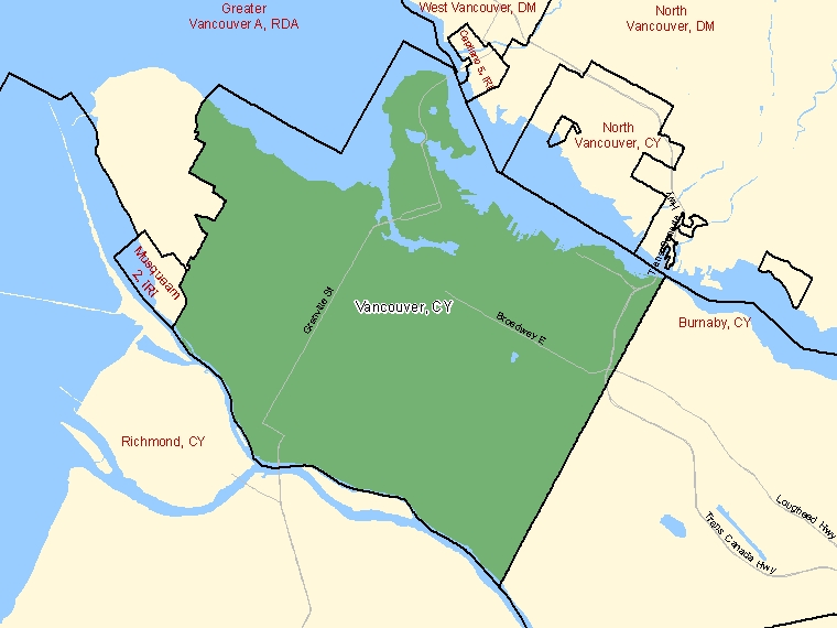 Map: Vancouver, City, Census Subdivision (shaded in green), British Columbia