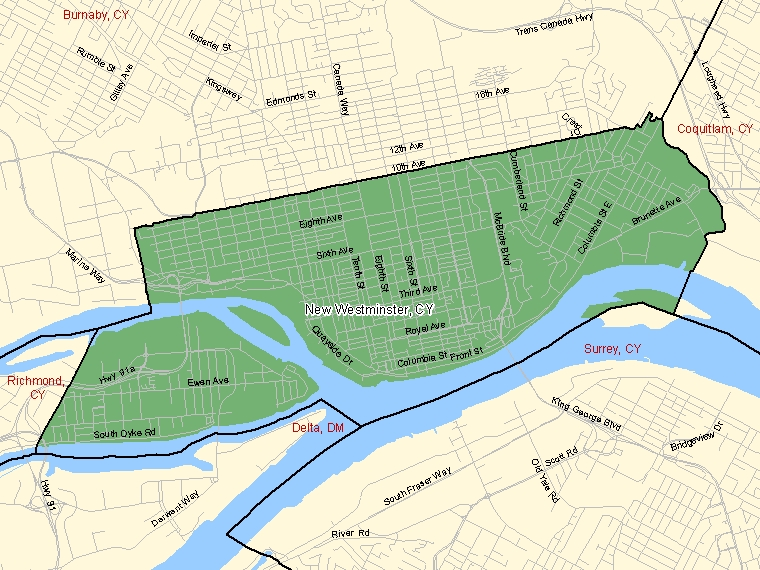 Map – New Westminster (CY)