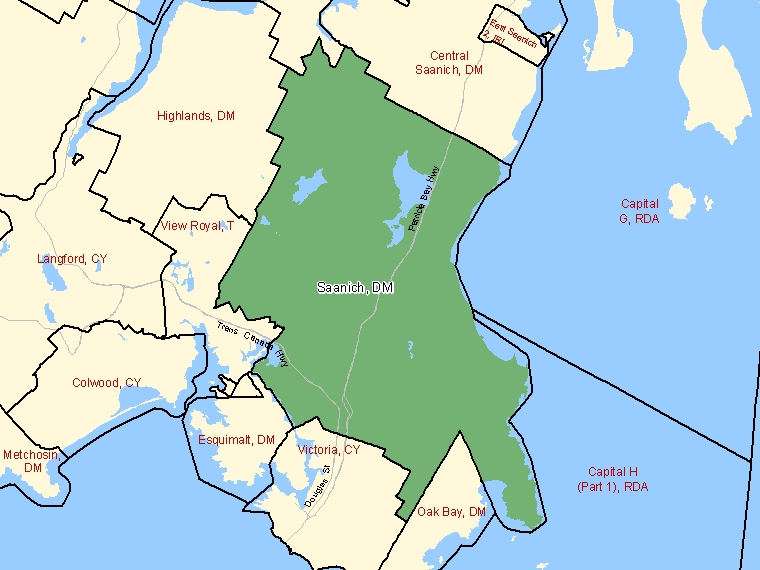 Map: Saanich, District municipality, Census Subdivision (shaded in green), British Columbia