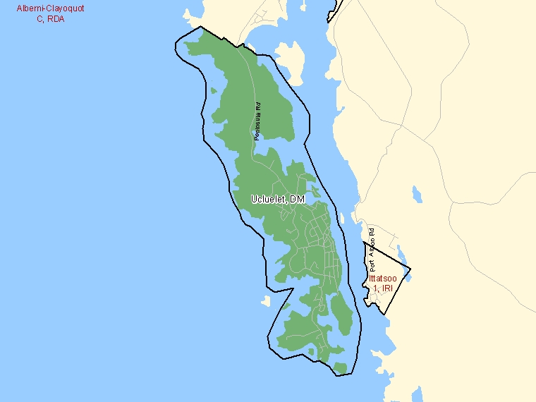 Map: Ucluelet, District municipality, Census Subdivision (shaded in green), British Columbia